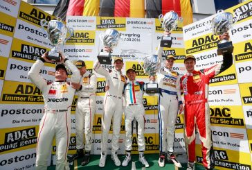 ADAC GT Masters – Porsche one-two in Race 1 at the Nürburgring, first podium for Nikolaj Rovigue