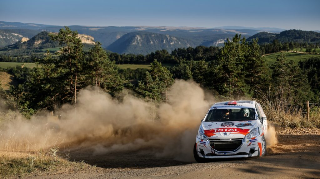 39 TOEDTLI Jeremie CHIOSO Alexandre PEUGEOT 208 VTI R2 Action During the rallye terre de Lozere 2016, August 26 to 28 at Mende - Photo Bastien Baudin / DPPI