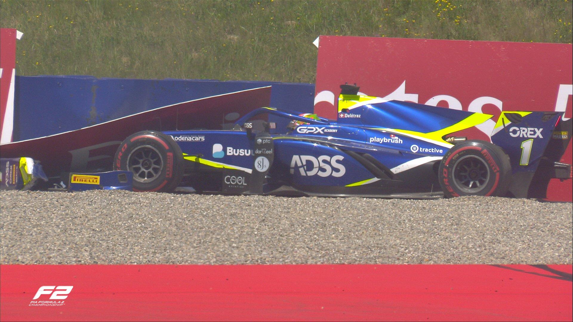 FIA F2 – GP d'Autriche: Un gros crash prive Louis Delétraz de la victoire. Boschung jette définitivement l'éponge