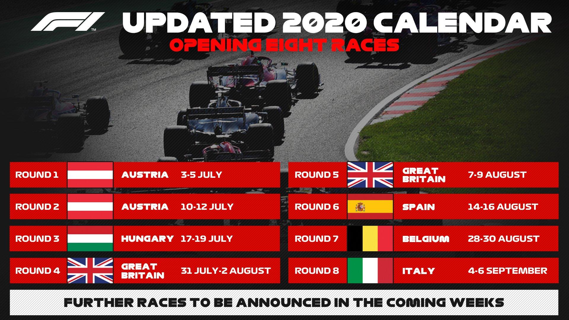 F1 – Saison 2020: Un nouveau calendrier dévoilé (officiel)